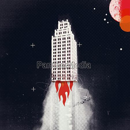 cohete rascacielos subiendo al espacio