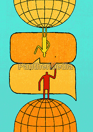 anthropomorphic speech bubbles connecting man and