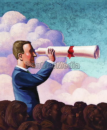 businessman with diploma telescope standing above