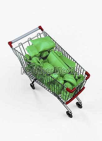 carrito de compras lleno de comestibles