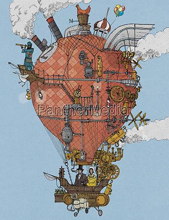 exploradores anticuados en globo de aire