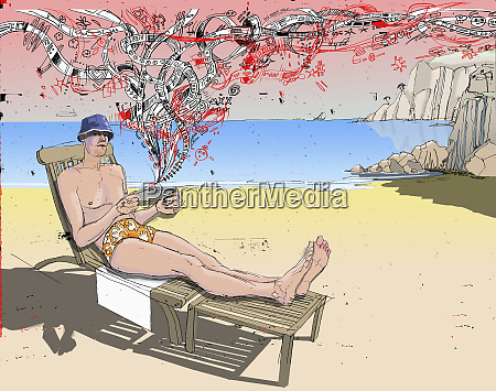 man laying on lawn chair at