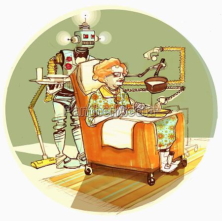 robot sirviendo sopa de mujer vieja