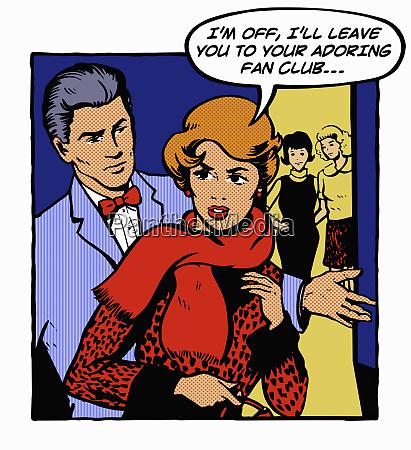 mujer celosa dejando novio en la