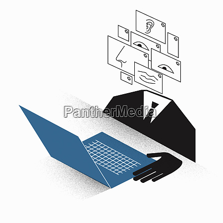 businessman with montage face using laptop