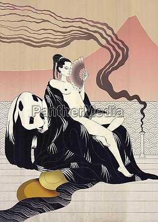 desnuda mujer asiatica y panda