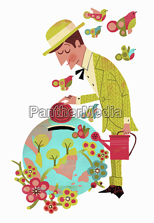 businessman dropping coin into flowering globe