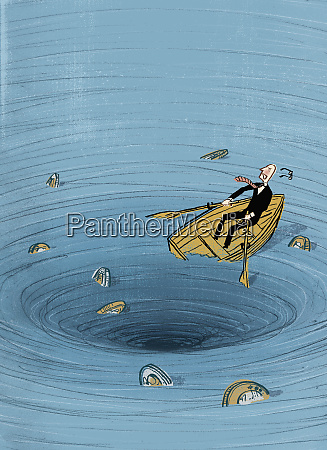 businessman in boat getting sucked into