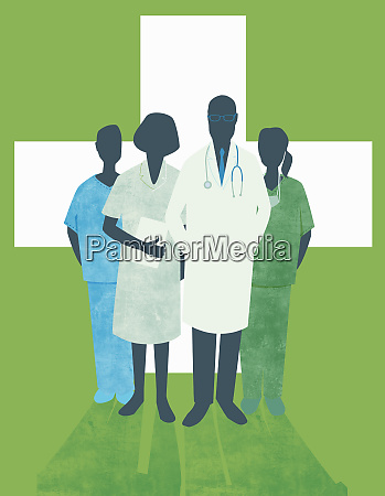 portrait of doctors and nurses in