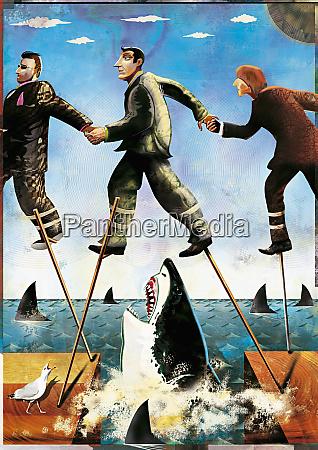 businessmen on stilts walking through shark
