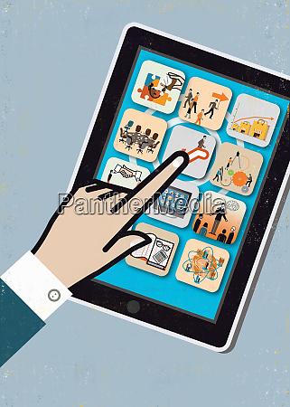 close up of businessmans hand using