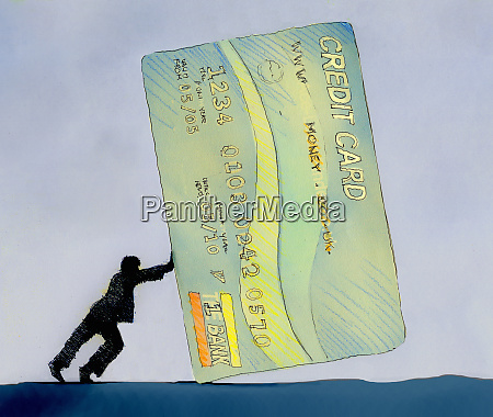 man pushing large credit card
