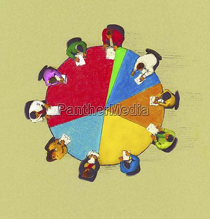 business people meeting around pie chart