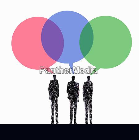 businessmen discussing ideas in multicolored speech