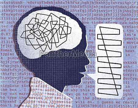 cabeza con pensamientos mezclados y discurso