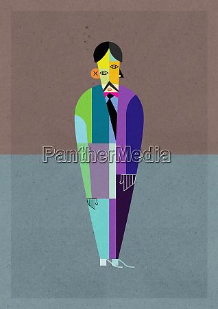 cubism multicolored businessman