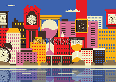 clocks and hourglasses in cityscape