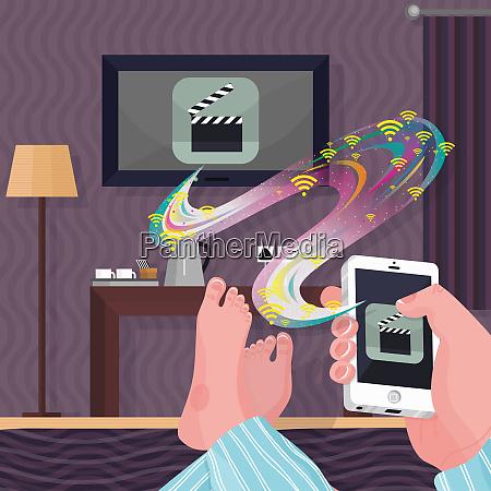 man in hotel room streaming movie