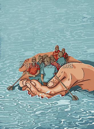 hands forming boat saving migrants crossing