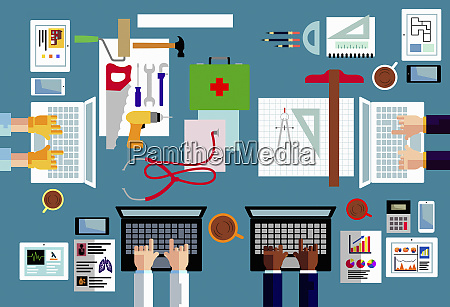 overhead view of different occupations using