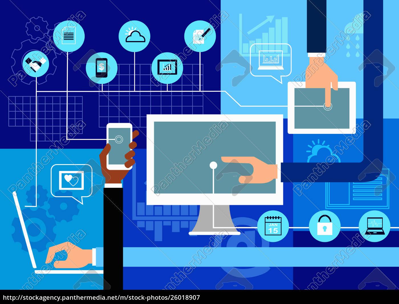 manos, usando, diferentes, dispositivos, digitales, para - 26018907