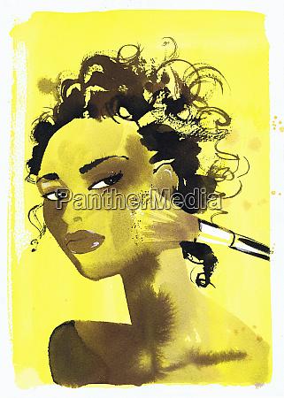 hermosa mujer aplicando maquillaje a la