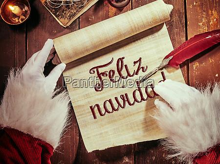escrita a mano feliz navidad o