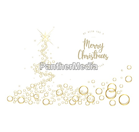 white christmas tree background with bubbles