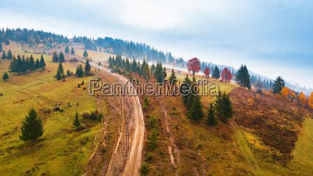muddy hillside in autumn rainy season
