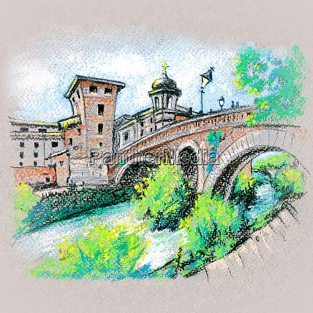 tiber island in rome italy