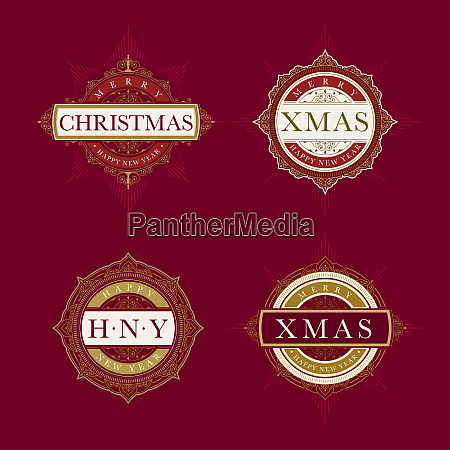 elegant christmas and emblem template collection