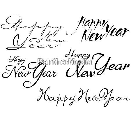 set of happy new year inscription