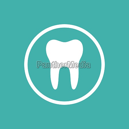 tooth flat icon with a circle