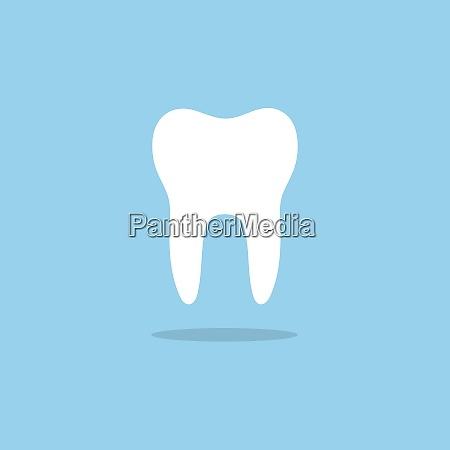 tooth flat icon with shade on