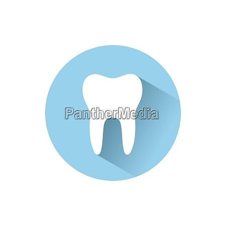 icono de diente plano con sombra