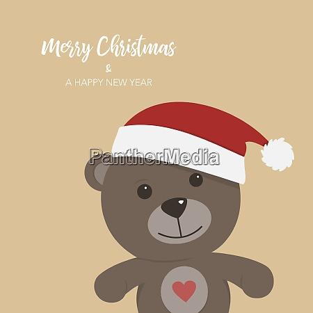christmas card with teddy bear on