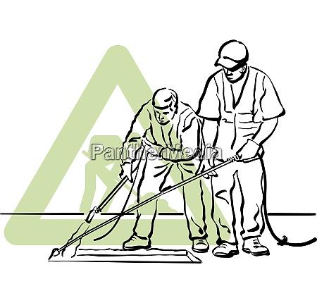 un par de trabajadores de asfalto
