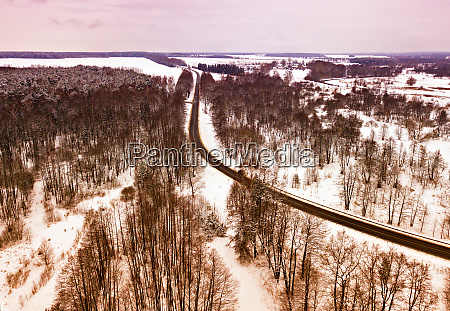 winter snowy landscape aerial view of