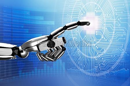 robot tocando la placa de circuito