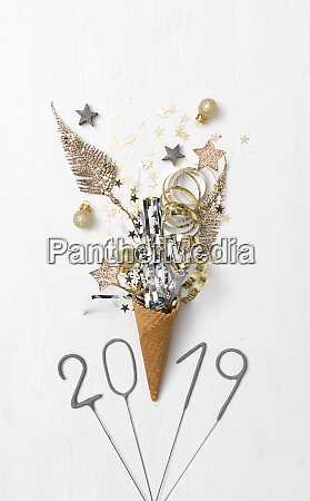 new year background with ice cream