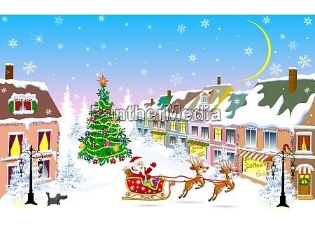 ciudad noche de navidad santa claus