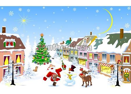 ciudad en el invierno jolly santa