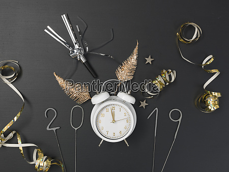 new year background with white alarm