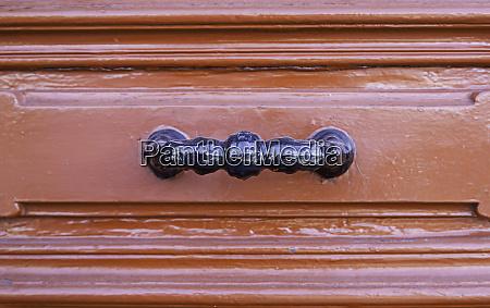 detail of red door