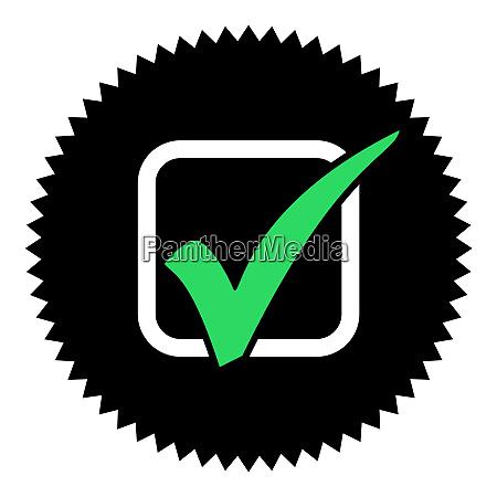 green tick on round black button