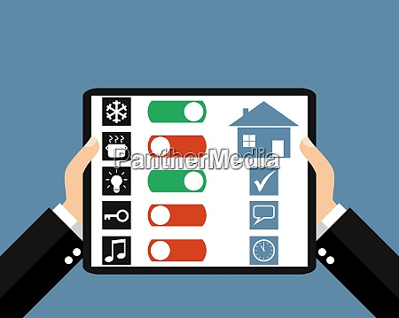 tablet house control flat design