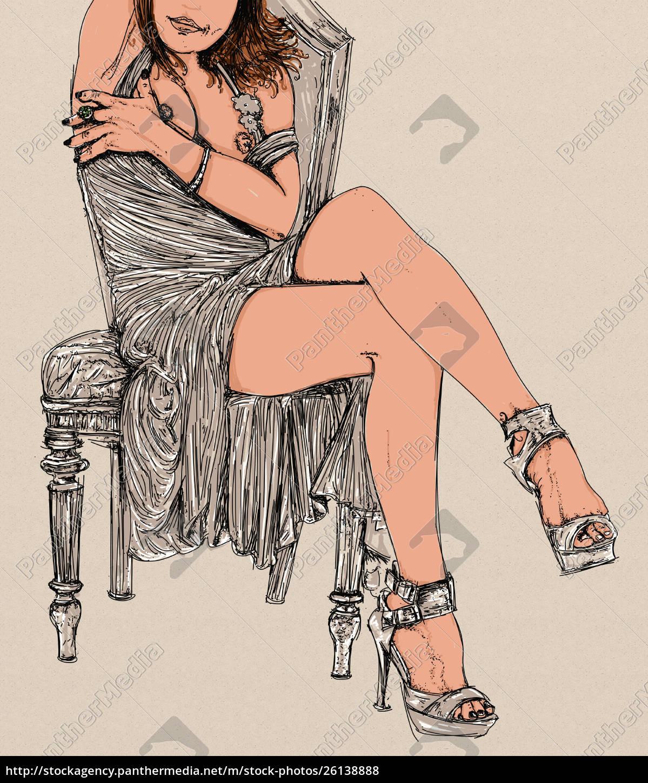 , mujer, erótica, línea, refinada, y, sensual - 26138888