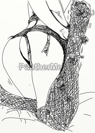 mujer, erótica, línea, refinada, y, sensual, diseñada - 26138893