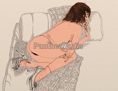 mujer, erótica, línea, refinada, y, sensual, diseñada - 26138902