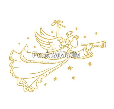 silueta de angel aislada dorada colgando